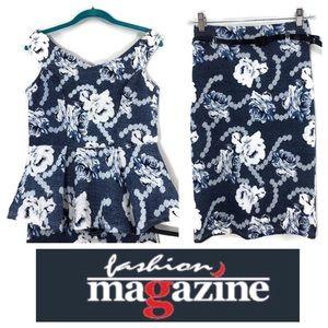 Fashion Magazine 2 Piece Pencil Skirt Set